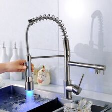 Luxury LED Kitchen Sink Mixer Taps Pull out Two Spray Brushed Swivel Spout
