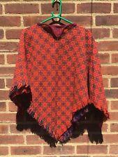Vintage Welsh Tapestry Tweed Wool Orange Cape Poncho Festivals S M Lagenlook