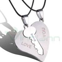Collana doppio ciondolo pendente+laccetto Hearts Key cuore chiave love regalo