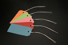 25 ASSORTED COLOURED STRUNG TAGS 96MM X 48MM TIE ON GIFT PARCEL LABELS
