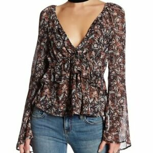 FREE PEOPLE NWT $118 Uptown Bell Sleeve Peasant Boho Top Size Large