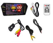 "7"" HD Bluetooth MP5 Car Rearview Mirror Monitor + Car Backup Reverse Camera Kits"