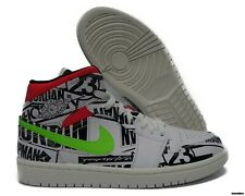 Nike Mens Air Jordan 1 Mid All Over Logos Print White Black Green Red 554724-119