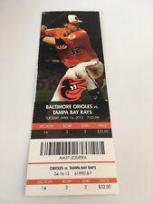 Jake Arrieta Win #20 April 16 2013 4/16/13 Baltimore Orioles Rays Full Ticket