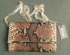 Dune Clutch Shoulder Bag Mock Brown Snake skin With Gold trim and Chain Strap