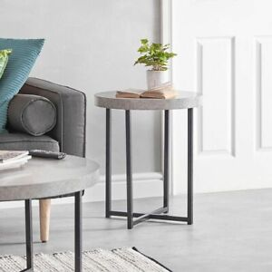Concrete-Look Round Side End Table-Grey