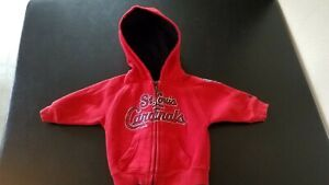 St Louis Cardinals Baseball Adidas Baby Hooded Zip Up Jacket Coat Size 12 M EUC
