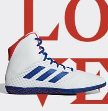 Adidas Mat Wizard 4 Men's Size 9.5 White Red Royal Blue Wrestling Shoes BC0533