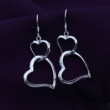 Boucles d'oreilles Pendantes nouveau esthétique joli noble simple Double coeurs