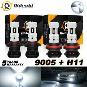 4X Fanless LED Bulbs High Low Beam Combo 9005 H11 Headlight 6000K Bright White