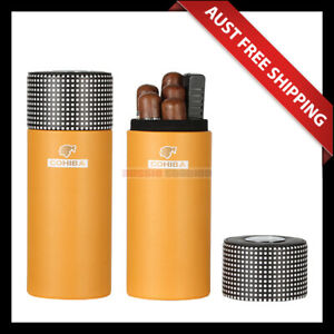 Cohiba Leather Tube - Yellow, Portable 5 Cigar Carry Case, Aussie Station