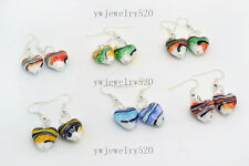 wholesale 24Pair Mixed Jewellery heart Murano Glass Silver Plated Earrings FREE
