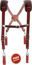 WorkSuspenders ForWomen Men LeatherHeavyDuty Spring Clips Thick Professional
