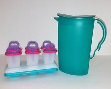 Tupperware Ice Tups Popsicle Molds #481 Impressions Teal Pitcher #333B 2.1 Liter