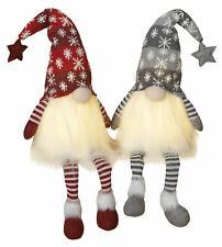 2- Pc Light Up Christmas Plush Gnomes Dolls Figurine Set Shelf Sitter Decoration