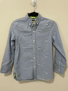 Mini Boden Dog Embroidered Oxford Shirt Button Down Boys 11-12y
