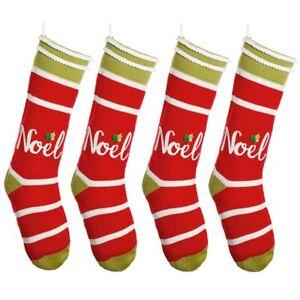 Set of 4 Luxury Traditional Fairisle Knitted Cotton Pattern Christmas Stockings