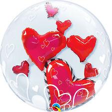 Ballon Bubbles Qualatex 61cm de diametre Double Coeurs rouges