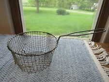 Vintage Wire Mesh Deep Fry Basket Strainer with Pot Hook and Handle