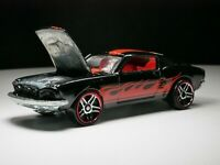1967 Ford Mustang Fastback Solid Metal VHTF Hot Wheels Black Red Flames Adult