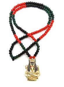 "Egypt God Anubis Pendant 6mm 30"" Multi Color Wooden Bead Necklace"