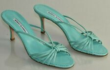 NEW Manolo Blahnik Turquoise Slides Sandals Mules Leather Green Strappy Shoes 41