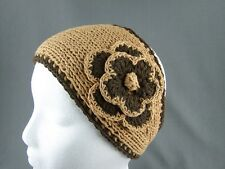 Tan Camel Brown 100% cotton flower crochet ear warmer muff head band wrap knit
