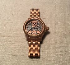 Invicta Rose Gold Stainless Steel Model 19859 Skull Skeleton Quartz Mens Watch