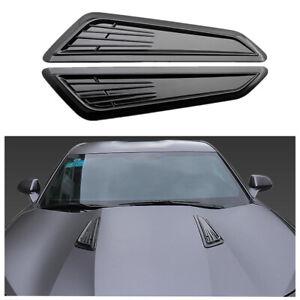 1 Pair Glossy Black Air Flow Intake Scoop Hood Bonnet Vent Front Engine Cover