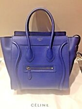 Authentic CELINE Micro Luggage Leather Tote Bag In Colbat Blue