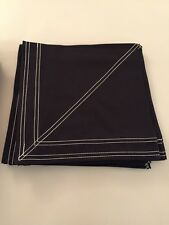 Crate And Barrel New White And Black Stitch Napkins Napkin Set Of 6