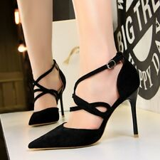 Womens Sexy Suede Strappy Buckle Belt Slim High Heels Shoes Pointed Toe Pumps Sz