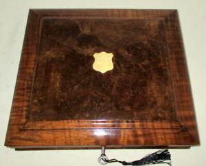 HANDSOME VICTORIAN WALNUT COLLECTORS/TRINKET BOX with key