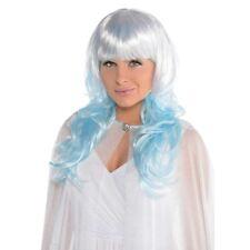 Ice Hada Platino BRILLO Peluca Azul Reina Sirena Tine de pelo OMBRE Elegante