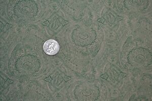 """Cotton fabric 44"""" x 3.4 yards, paisley print in tan and green"""