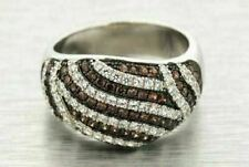 Ladies .925 Silver Fancy Pave Champagne White CZ Ring Womens Size 8 Cocktail