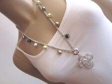 Damen Hals Kette Modekette Modeschmuck lang Silber Pastell Perlen Strass Blume