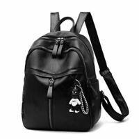 Girls Backpack Leather Rucksack Travel Shoulder School Bag Black