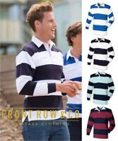 Front Row - Mens Long Sleeve Striped Cotton Rugby Polo Shirt - Various Colours