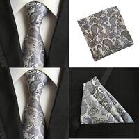 Men Gray Paisley Flower Silk Necktie Pocket Square Handkerchief Set Lot HZBWT065