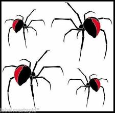 Set of 4 x REDBACK SPIDER STICKERS   *CAR DECALS*  RED BACK