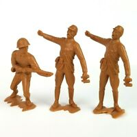 """Vintage Japanese 6"""" Louis Marx & Co. Inc Plastic WW2 Soldiers Old Toy Lot Of 3"""