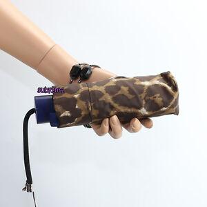NWT Coach Park Ocelot Leopard Print Mini Umbrella F65681 Mahogany Brown NEW RARE