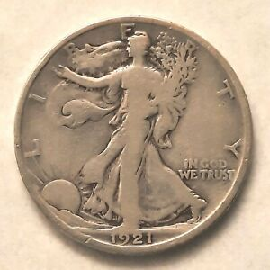 Key 1921-D Walking Liberty Half Dollar Graded by ANACS as VG-8 Details-Cleaned*