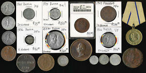 20 OLD RUSSIA COINS & MEDALS (LATE 1700's to EARLY 1900's) CV $770+ > NO RESERVE