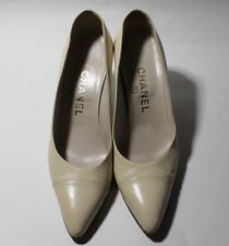 Authentic Chanel Cream Leather Classic Cap Toe Pumps Heels Shoes Size 36.5
