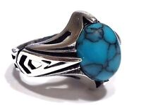 Turkish Ottoman Turquoise Gemstone Solid 925 Sterling Silver Men Ring
