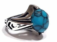 Turkish Ottoman Vintage Turquoise Gemstone Solid 925 Sterling Silver Men Ring
