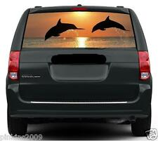 Dolphins in Sunset Car Rear Window Vehicle Caravan Graphic Sticker / Decal