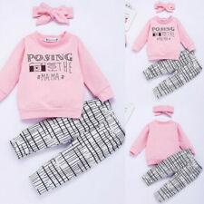 3Pcs Toddler Kids Baby Girls Long Sleeve Tops Pants Headband Outfits Clothes Set